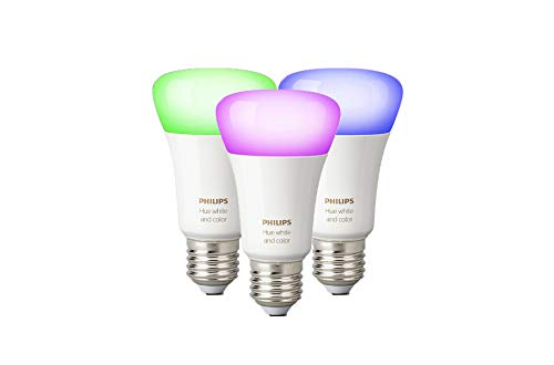 Philips Hue White and Color Ambiance E27 LED Lampe Dreierpack, dimmbar, bis zu 16 Millionen Farben, steuerbar via App, kompatibel mit Amazon Alexa (Echo, Echo Dot)