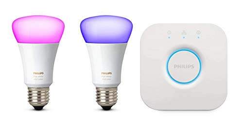 Philips Hue White und Color Ambiance E27 LED Lampe Starter Set, zwei Lampen 4. Generation, dimmbar, steuerbar via App, kompatibel mit Amazon Alexa (Echo, Echo Dot)