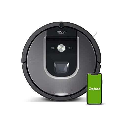 iRobot Roomba 960 Saugroboter mit starker Saugkraft, 2 Multibodenbürsten, Navigation für mehrere Räume, lädt sich auf und setzt Reinigung fort, Ideal für Tierhaare, App-Steuerung,Dirt Detect