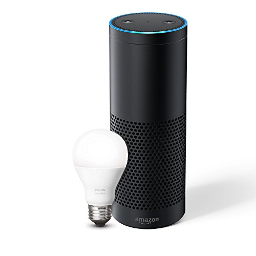 Echo Plus (1. Gen.) - Mit integriertem Smart Home-Hub (schwarz) - inklusive Philips Hue White E27 LED Lampe