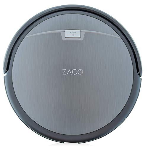 ZACO A4s Saugroboter, automatischer Staubsauger Roboter, Borstenbürste für kurzflorigen Teppich, leiser Betrieb über 2 Stunden staubsaugen, Fallschutz, Beutellos, Staubtank 450ml, Ladestation
