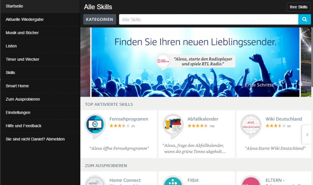 Startseite Alexa App