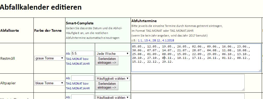 Alexa Skill Abfallkalender - manuelle Erfassung