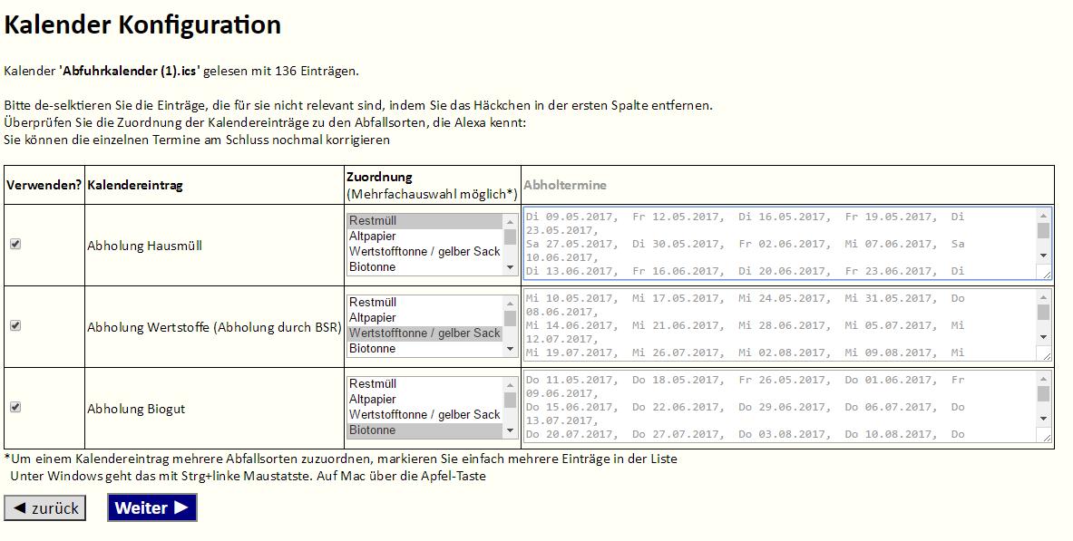 Alexa Skill Abfallkalender - Konfiguration