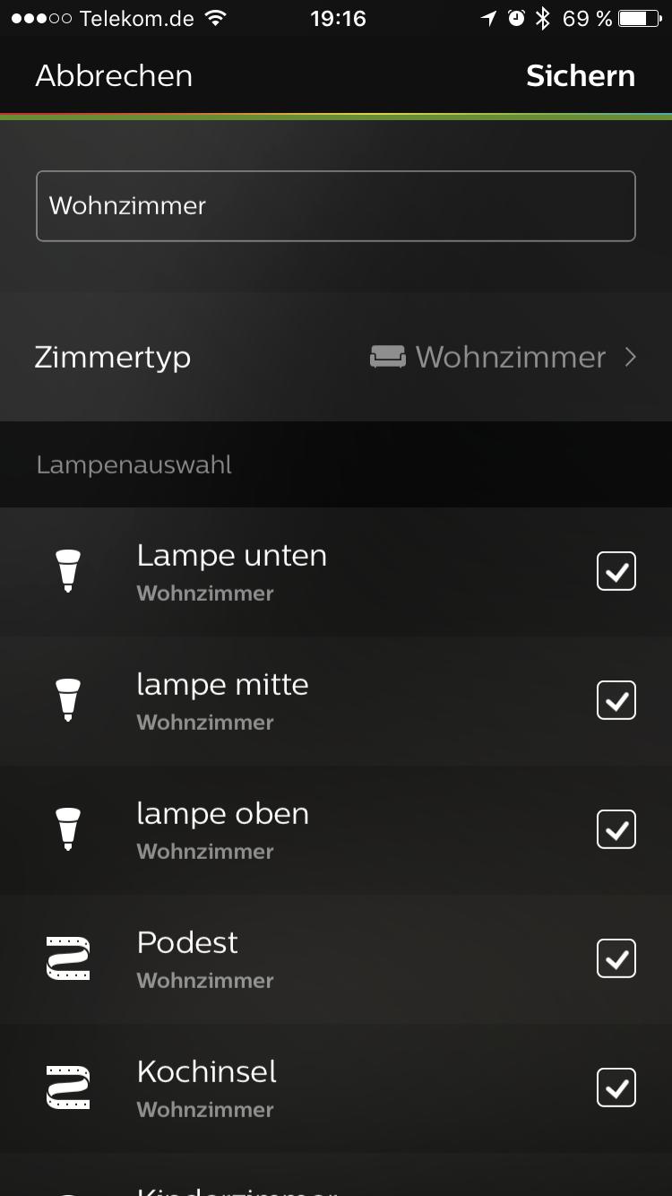 Philips Hue App Zimmereinstellungen