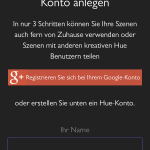 Amazon Alexa App My Hue Konto erstellen mit Google+