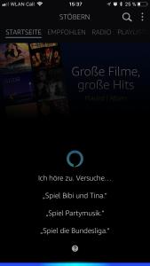 Alexa in der Amazon Music App unterstützt auch Custom Skills