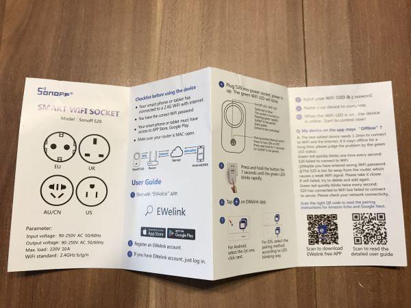 Sonoff S20 Anleitung Englisch
