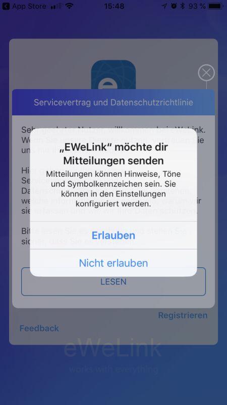 eWeLink App Einrichtung Schritt 1