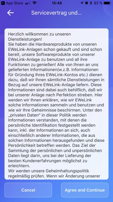 eWeLink App Einrichtung Schritt 2