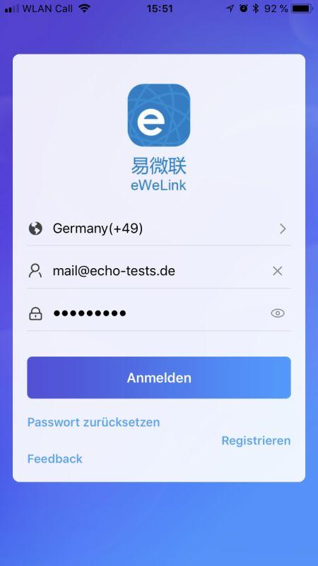 eWeLink App Konto erstellen