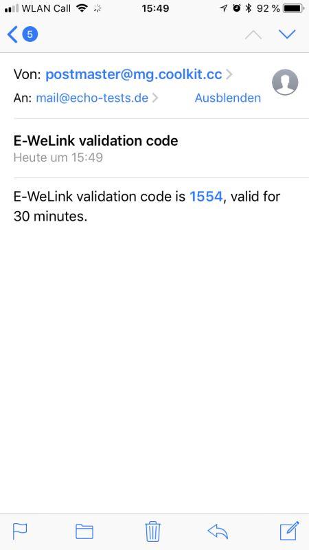 eWeLink App Einrichtung Email Bestätigungscode